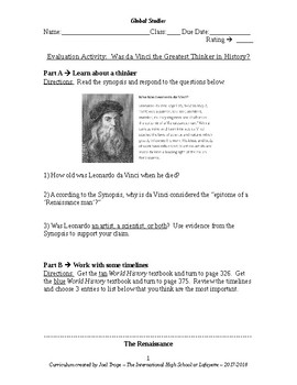 Global History Evaluation Activity - Was Leonardo da Vinci the Greatest Thinker?