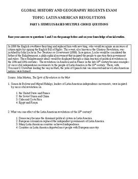 Global History & Geography II Regents - Latin American Revolutions