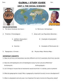 Global History 9th grade (1st Sem) Study Guide Units 1-10 - REGENTS ALIGNED