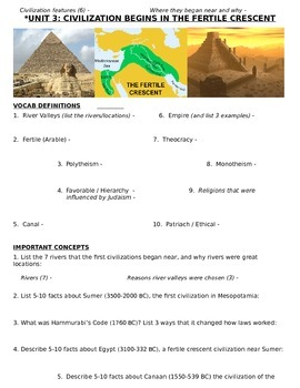 Global History - 9th grade - 1st Semester - Study Guide (Units 1-10)