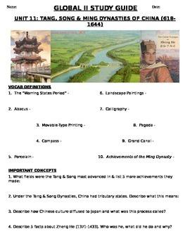 Global History 9th grade (2nd Sem) Study Guide Units 11-20
