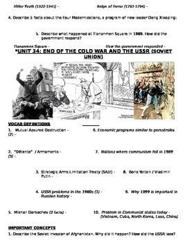 Global History - 10th grade - 2nd Semester - Study Guide (Units 31-40)