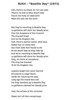 "Global History - 10th Grade - Unit 22 - Rush Lyrics (""Bastille Day"")"