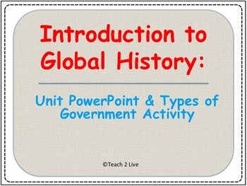 Global History Intro Bundle - PowerPoint and Types of Government Activity