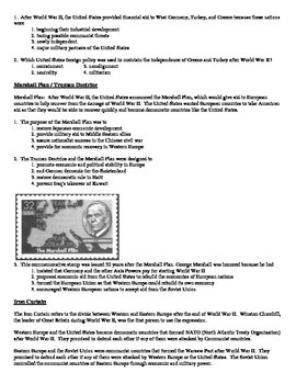 Global History Regents Review Packet / Prep - Cold War