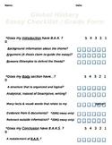 Global or US History - Thematic & DBQ Essay Checklist & Grade Form