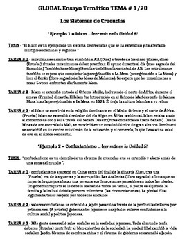 Global History - Thematic Essay Topic 1/20 Body Outline Example - SPANISH