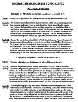 Thematic Essay Worksheets Teaching Resources
