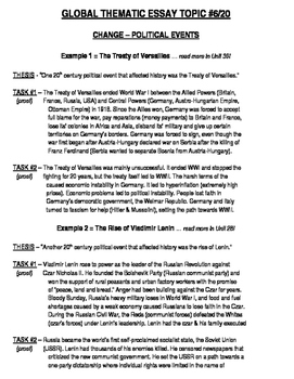 Global History - Thematic Essay Topic 6/20 Body Outline Example