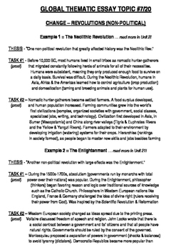 Global History - Thematic Essay Topic 7/20 Body Outline Example