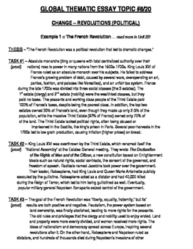 Global History - Thematic Essay Topic 8/20 Body Outline Example