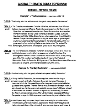 Global History - Thematic Essay Topic 9/20 Body Outline Example