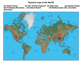 Global History World Map - Physical Map