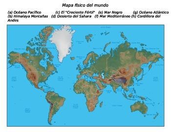 Global History - World Map (Physical) - SPANISH