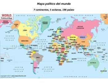 Global History World Map - Political Map - SPANISH