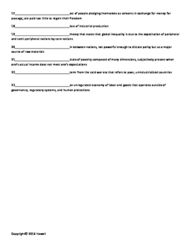 Global Inequality Vocabulary Quiz or Worksheet for Sociology