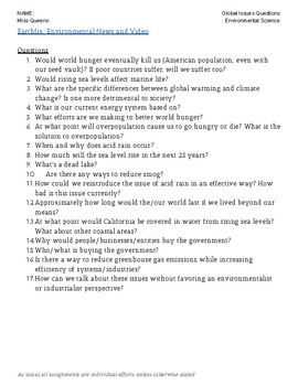 Global Issues / Climate Change Student-Generated Questions