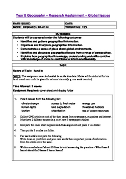 Global Issues Fact File Assignment Year 8 Geography