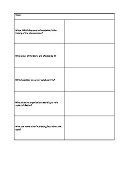 Global Issues Vocabulary and Mini-Research Activity