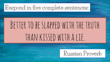 Global Literacy Journal Writing Prompts - Russia