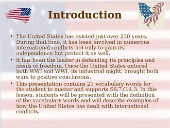 Global Policy - The United States & International Conflict - Vocabulary Exercise