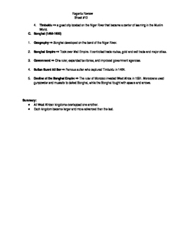 Global Regents Review Sheet #10 West African Kingdoms w/ Practice Questions