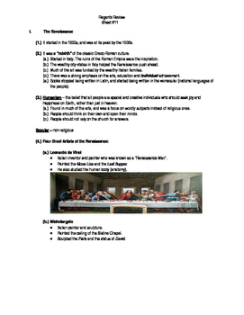 Global Regents Review Sheet #11 The Renassiance w/ Practice Questions