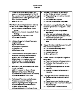 Global Regents Review Sheet #12 Protestant & Counter Refs. w/ Practice Questions