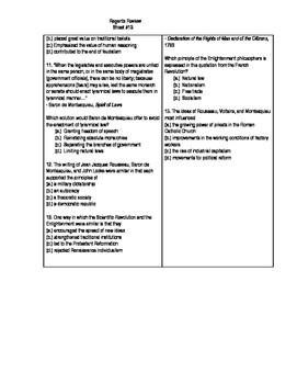 Global Regents Review Sheet #13 HRR, Sci Rev. & Enlighten. w/ Practice Questions