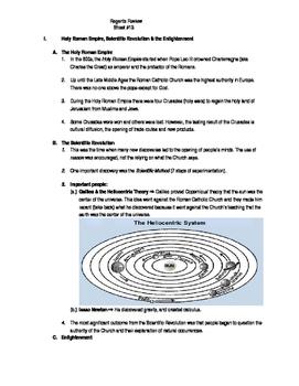 Global Regents Review Sheet #13 HRR, Sci Rev. & Enlighten.