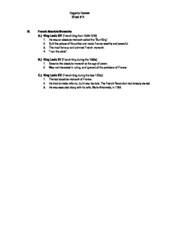 Global Regents Review Sheet #14 Monarchs of Europe w/ Practice Questions