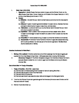 Global Regents Review Sheet #18 WWI & WWII w/ Practice Questions
