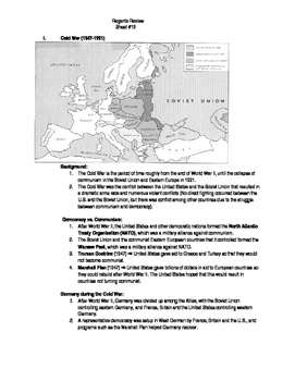 Global Regents Review Sheet #19 Cold War w/ Practice Questions