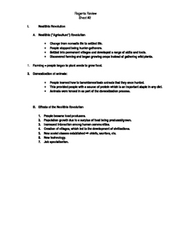 Global Regents Review Sheet #2 Neolithic Revolution w/ Practice Questions