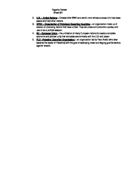 Global Regents Review Sheet #21 Important People & Events w/ Practice Questions