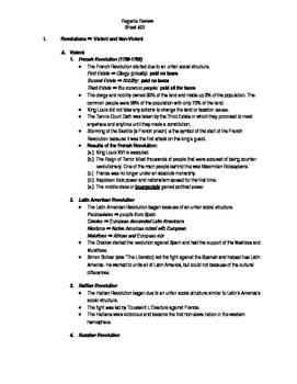 Global Regents Review Sheet #22 Revolutions w/ Practice Questions