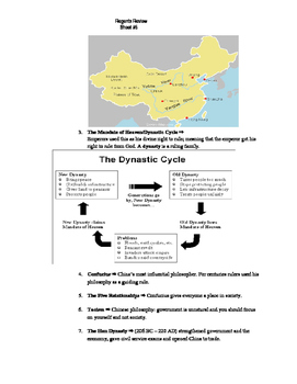 Global Regents Review Sheet #5 Chinese and Mongolian Clvzs w/ Practice Questions