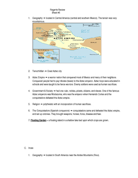 Global Regents Review Sheet #6 Mesoamerican Civilizations w/ Practice Questions