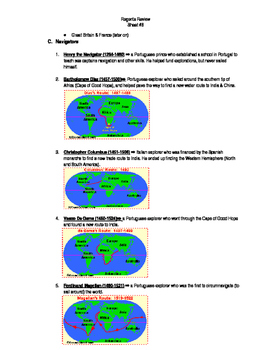 Global Regents Review Sheet #8 Exploration Practice Questions