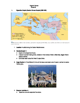 Global Regents Review Sheet #9 Byz. & Ottoman Empires w/ Practice Questions