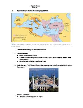 Global Regents Review Sheet #9 Byz. & Ottoman Empires w/ P