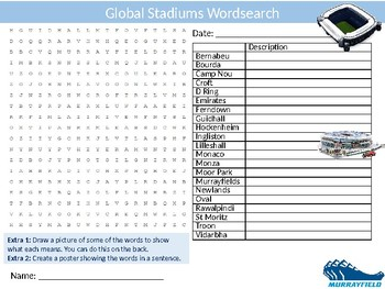 Global Stadiums Wordsearch Sheet Starter Activity Keywords PE Sports
