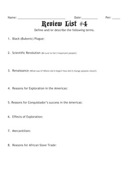 Global Studies 9 Review Lists