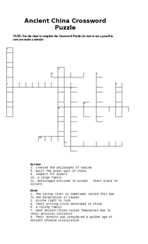 Global Studies Activity - Crossword Puzzle on Ancient China EXIT TICKET