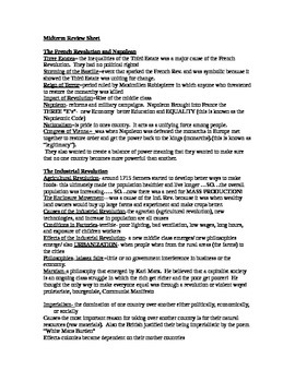 Global Studies II Midterm Examination Review Sheet