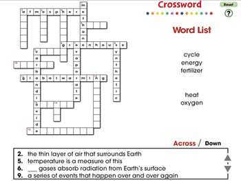 Global Warming CAUSES: Crossword - NOTEBOOK Gr. 5-8