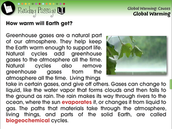 Global Warming CAUSES: Global Warming - NOTEBOOK Gr. 5-8