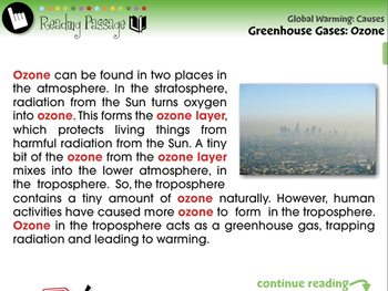 Global Warming CAUSES: Greenhouse Gases: Ozone - MAC Gr. 5-8