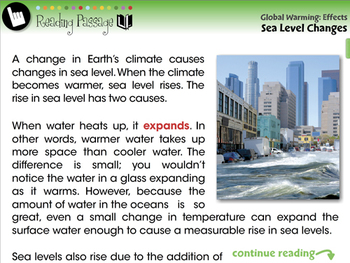 Global Warming EFFECTS: Sea Level Changes - NOTEBOOK Gr. 5-8