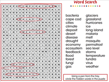 Global Warming EFFECTS: Word Search - NOTEBOOK Gr. 5-8